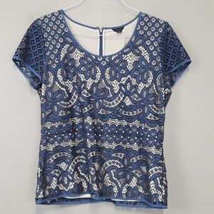 Ann Taylor Blue Lace Lined Back Zip Top